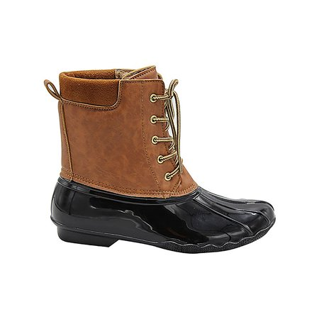 Duck Women's Lace Up Two Tone Combat Style Calf Rain Duck Boots Black 10