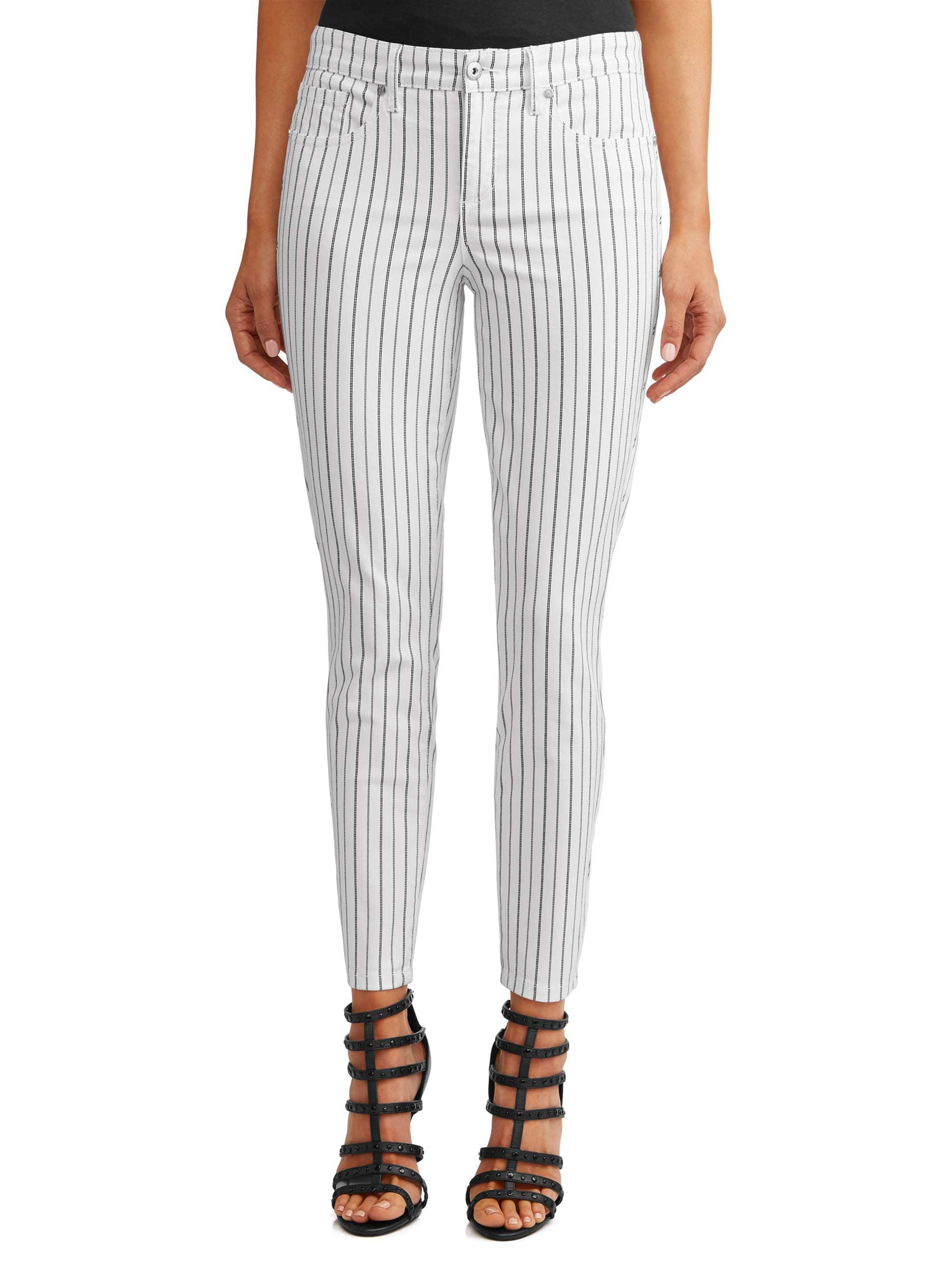 Sofía Skinny Pinstripe Mid Rise Ankle Jean Women's (White/Black)