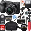 Sony ILCE-6300 a6300 4K Mirrorless Camera w/ 16-50mm Power Zoom Lens + 64GB Accessory Bundle + DSLR Photo Bag + Extra Battery + Wide Angle Lens+2x Telephoto Lens + Flash + Remote + Tripod