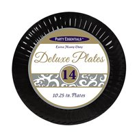 """1 - Party Essentials 10.25"""" Deluxe Dinner Plates - Black 14 Ct."""