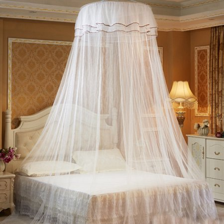 Round Double Lace Curtain Dome Bed Canopy Princess Mosquito Net with Luminous Butterfly (Girls Purple Bed Canopy)