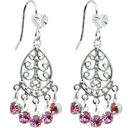 Pink Teardrop Chandelier Earrings - Large Chandelier Earrings