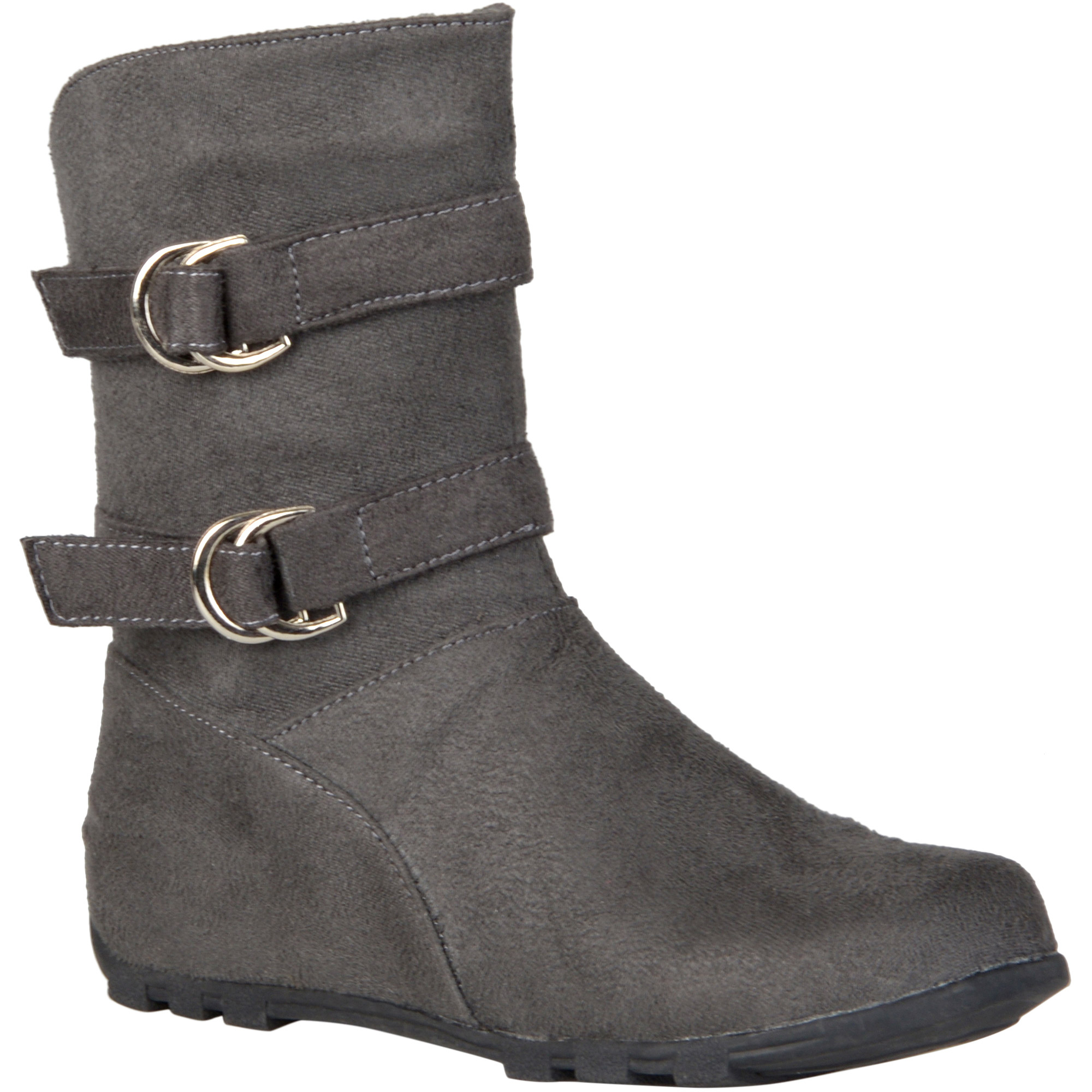 Brinley Co. Kids Girl's Buckle and Strap Accent Mid-calf Boots
