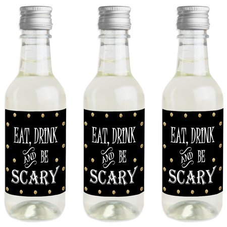 Spooktacular - Mini Wine and Champagne Bottle Label Stickers - Eat, Drink and Be Scary Halloween Party Favor Gift - Scary Halloween Labels For Bottles