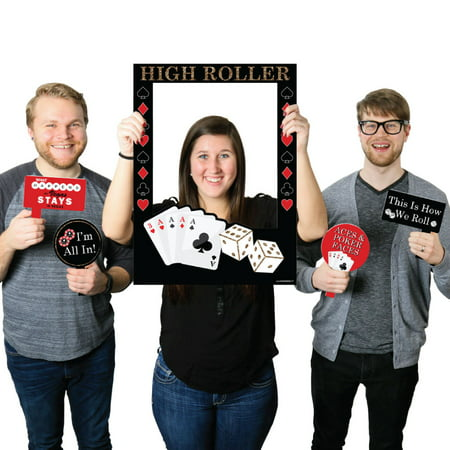 Las Vegas - Casino Themed Party Selfie Photo Booth Picture Frame & Props - Printed on Sturdy Material