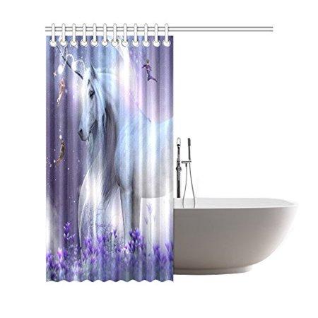 GCKG Fantasy Fairies Shower Curtain, Majestic Unicorn ...