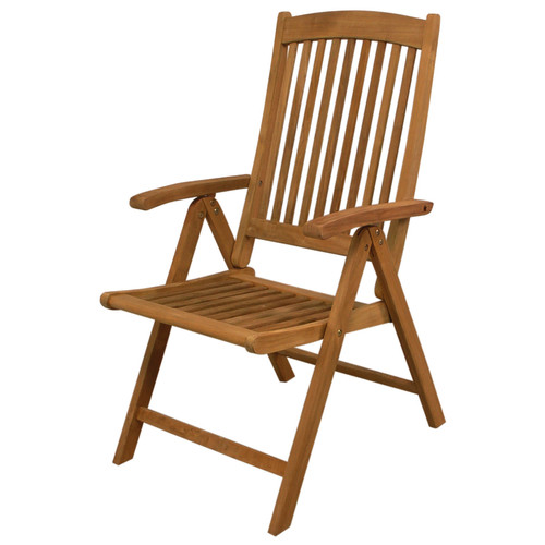 SeaTeak Avalon Folding Multi-Position Deck Chair with Arms, Oiled Finish