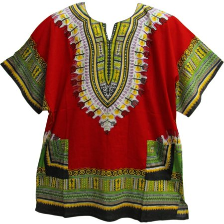 Unisex African Ethnic Dashiki Two Pocket Indian Cotton Tunic Shirt