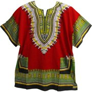 Unisex African Ethnic Dashiki Two Pocket Indian Cotton Tunic Shirt (Red)