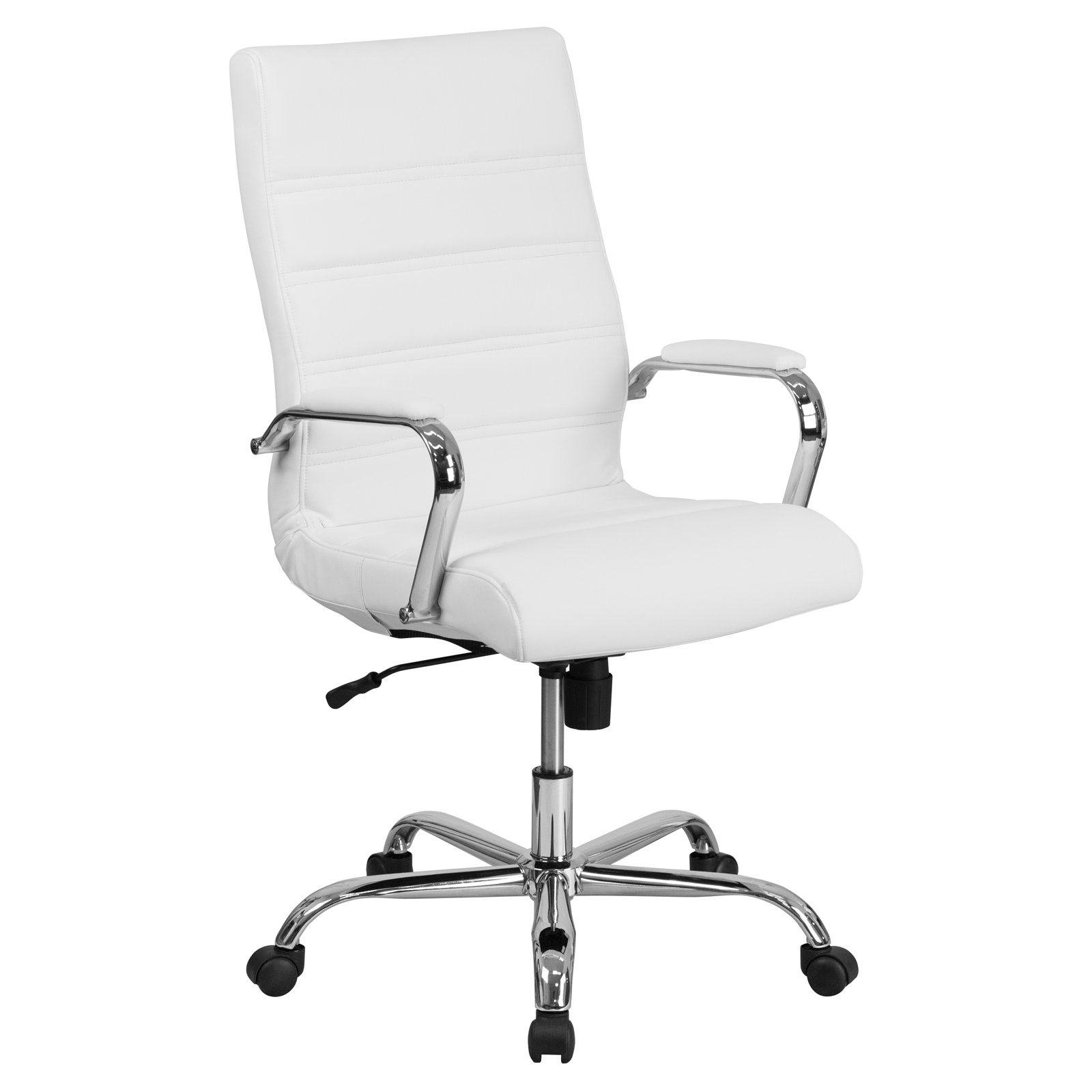 Product Image Flash Furniture High Back White Leather Executive Swivel Office Chair With Chrome Arms