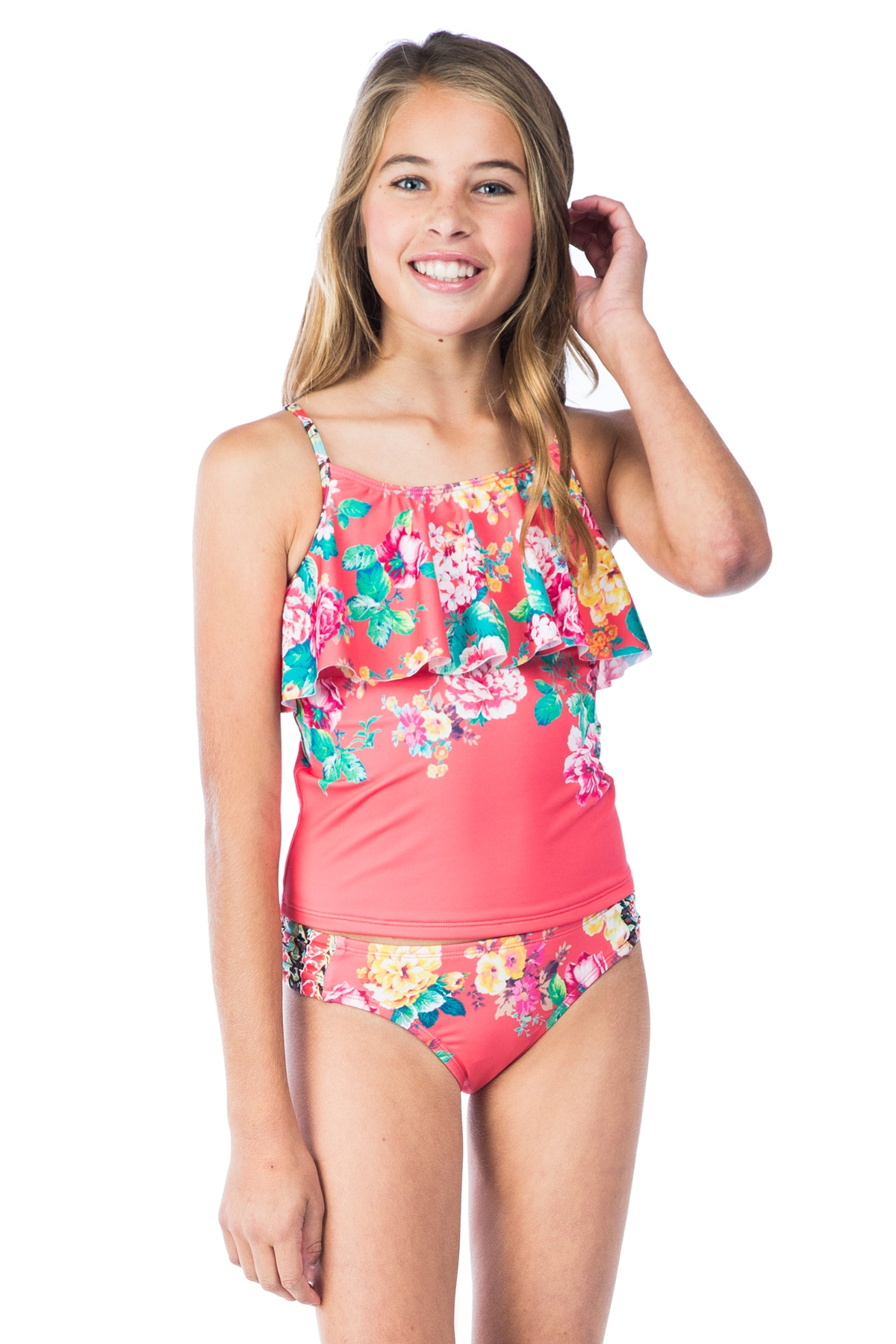 Hobie Girls Petal Pusher Hanky Tankini with Sash Side Hipster Swim Set 7