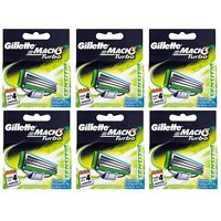 Gillette Mach3 Turbo Sensitive Refill Blade Cartridges, 4 Count (Pack of 6)