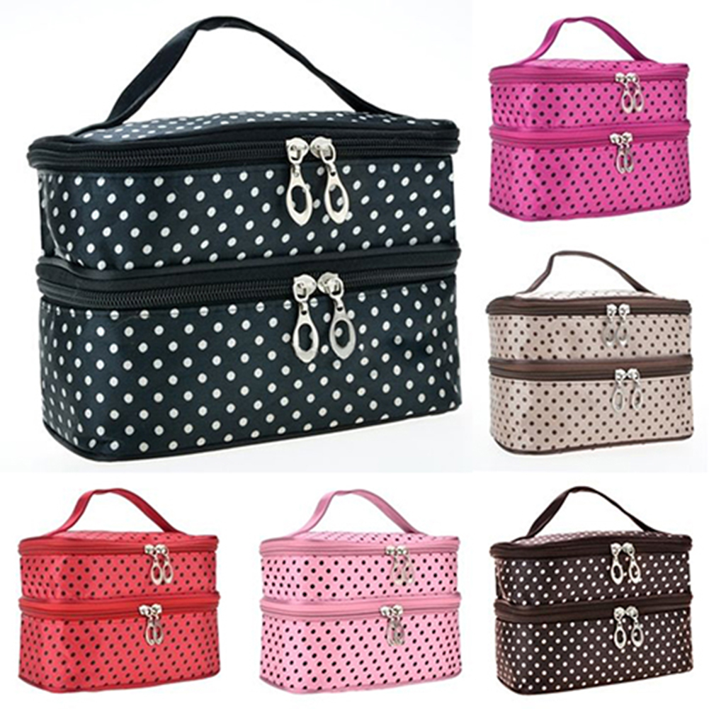 Heepo Women Large Cosmetic Makeup Bag Case Travel Double-Deck Toiletry Wash Pouch