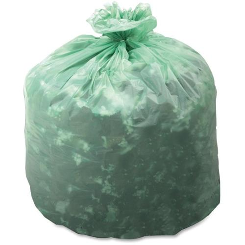 """Stout EcoSafe Compostable Trash Bags - 13 gal - 30"""" Width x 24"""" Length x 0.85 mil (22 Micron) Thickness - Green - 45/Box"""