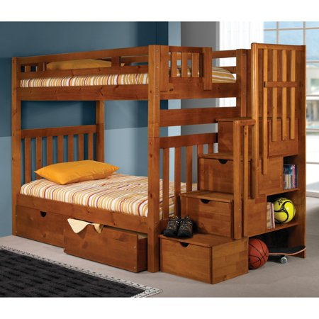 Donco Twin over Twin Stairway Bunk Bed - Honey Bunk Bed Honey