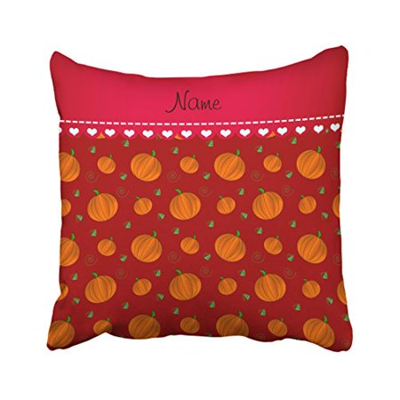 WinHome Decorative Pillowcases Personalized Name Red Orange Pumpkins Throw Pillow Covers Cases Cushion Cover Case Sofa 20x20 Inches Two - Name Pumpkin