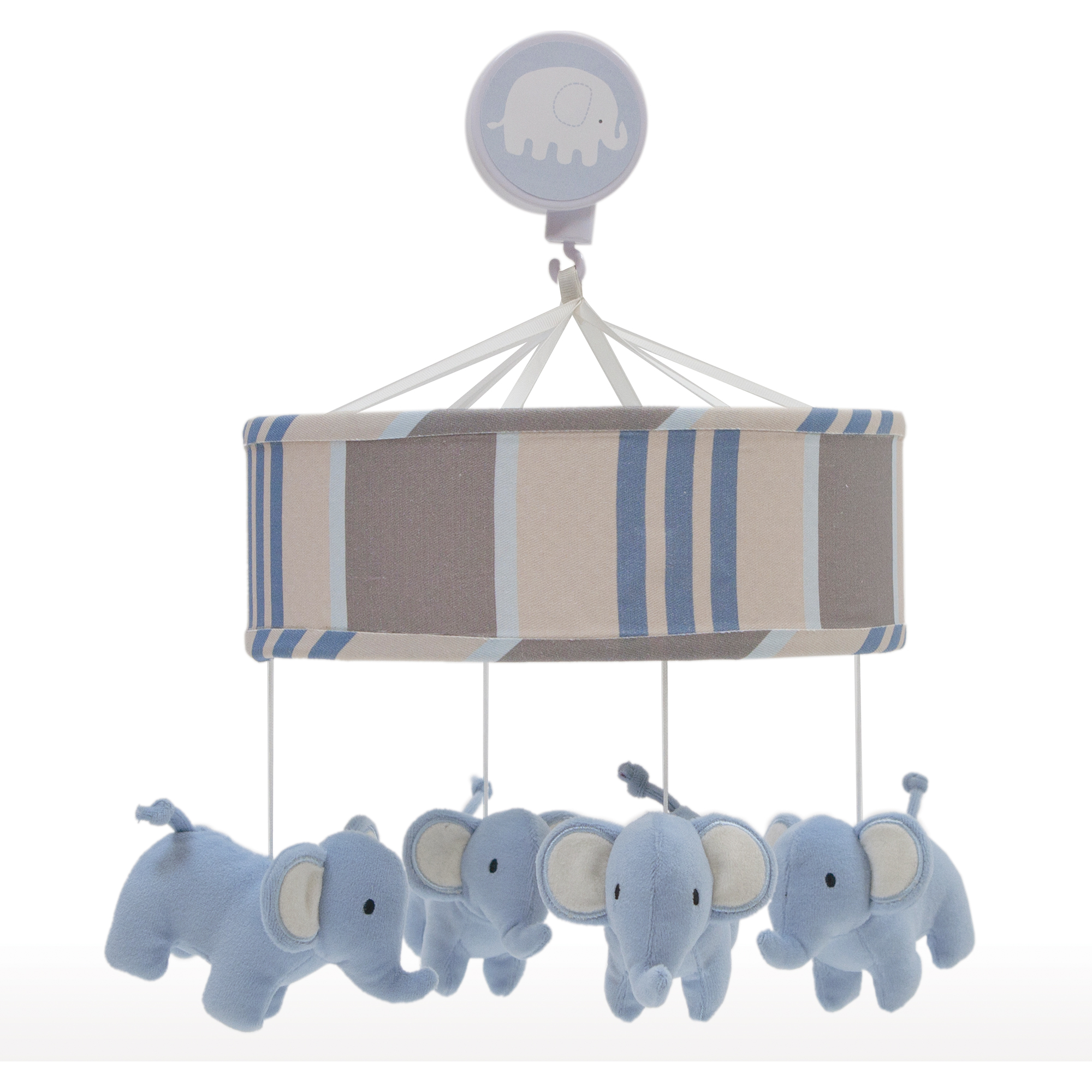 Lambs & Ivy Signature Elephant Tales Blue/Gray Stripe Musical Baby Crib Mobile