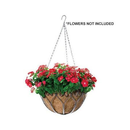 Panacea™ 88574 Savanna Hanging Basket with Chain & Coco Liner, Antique Iron, 14