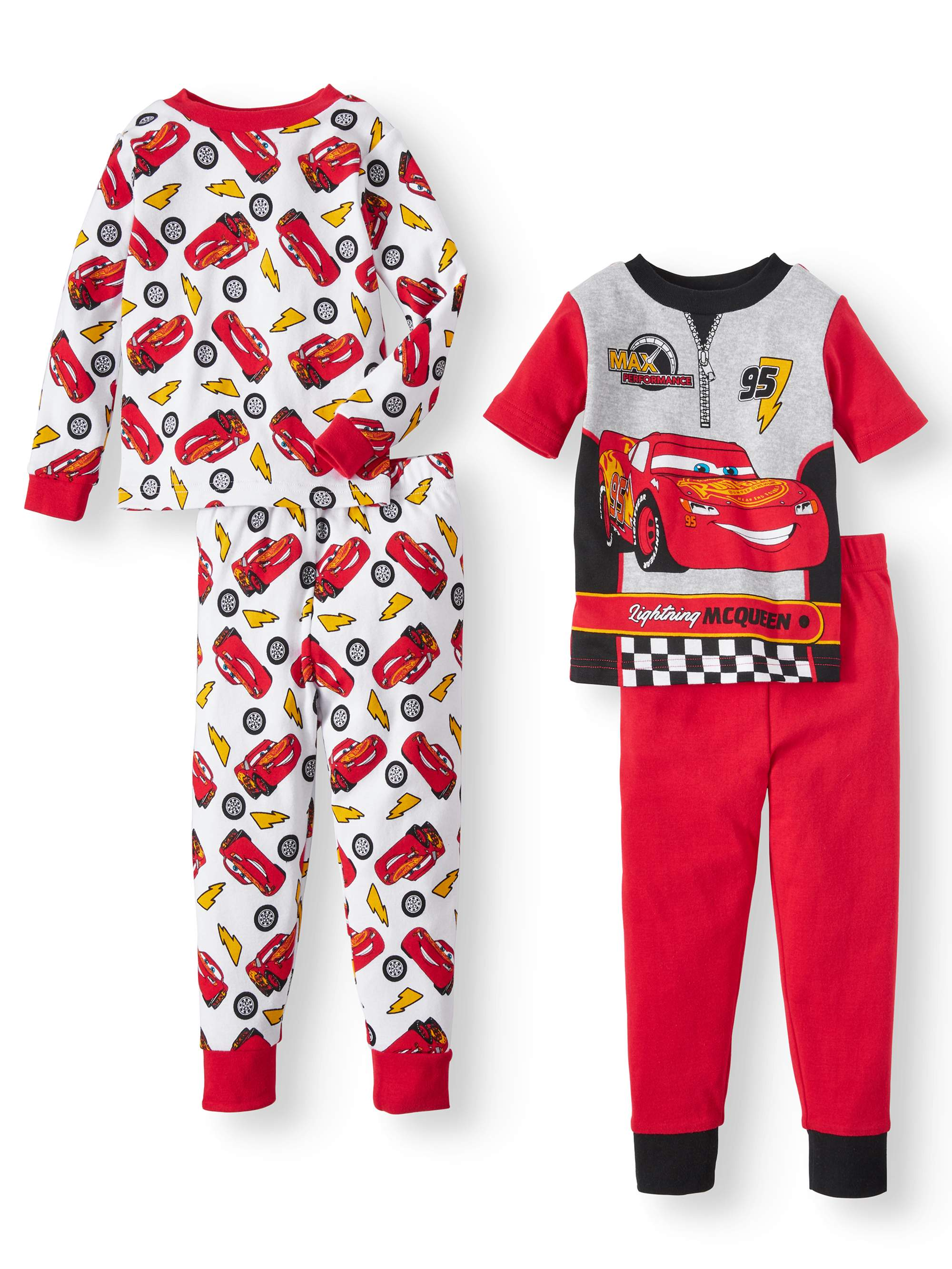 CARS Toddler Boys' Short Sleeve and Long Sleeve Cotton Tight Fit Pajamas, 4-Piece Set