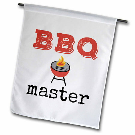 Flag Grille - 3dRose BBQ master, picture of a grill with black and red lettering - Garden Flag, 12 by 18-inch