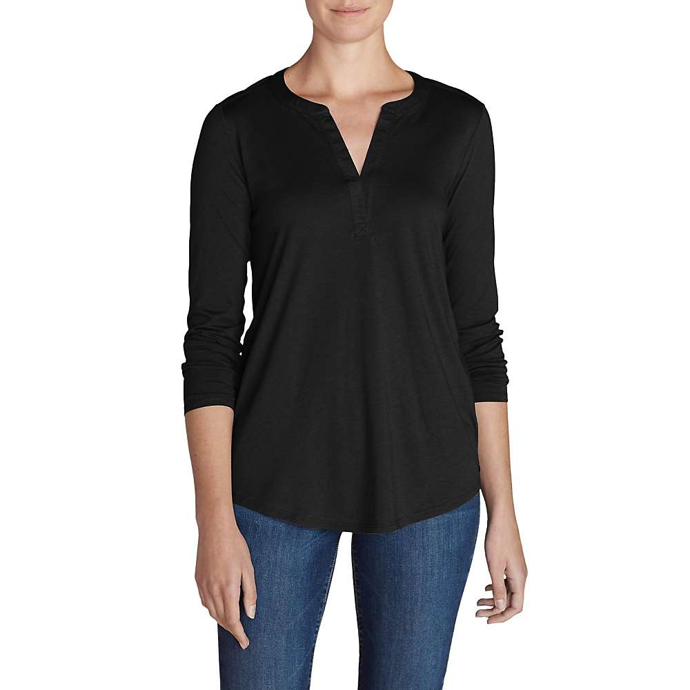 Eddie Bauer Travex Women's  Gate Check Long Sleeve Split Neck Tunic
