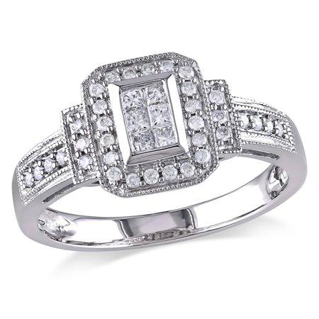 Princess Cut Diamond Engagement Ring 1/3 Carat (ctw Color H-I Clarity I2-I3) in 14K White Gold - image 4 de 4