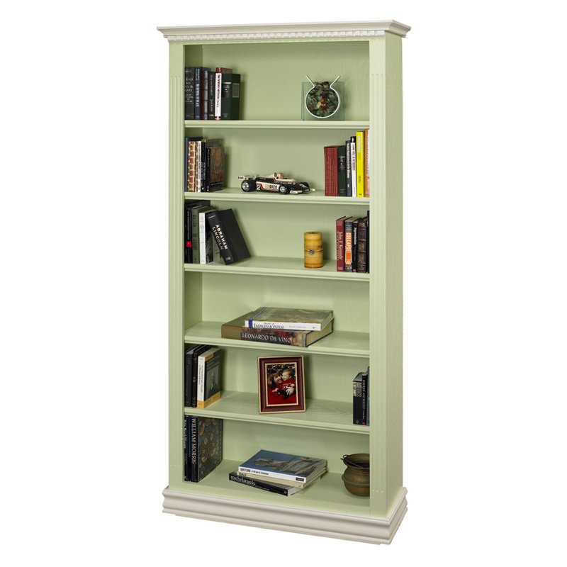 A & E Montecito Two Tone Hand Painted Bookcase - 36W x 84H in.