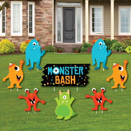 Monster Bash - Yard Sign & Outdoor Lawn Decorations - Little Monster Birthday Party or Baby Shower Yard Signs - Set of 8 (Shower Sign)