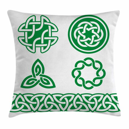 Irish Throw Pillow Cushion Cover, Medieval Ancient Knots Symbols Braided Design Religious Old Folkloric Gaelic, Decorative Square Accent Pillow Case, 18 X 18 Inches, Fern Green White, by Ambesonne - Medieval Braids
