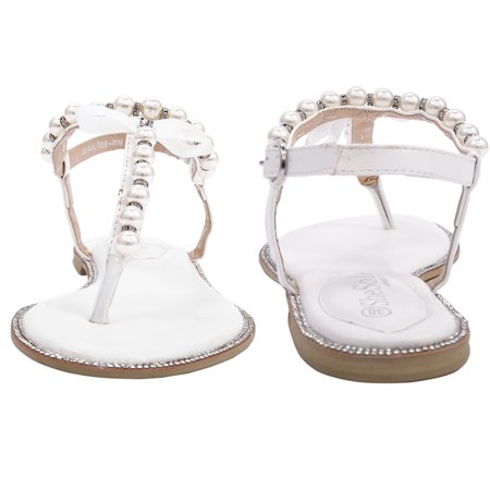 3d6ed4b7e SheSole - SheSole Women s Flat Bridal Beach Wedding Sandals for Bride Shoes  Pearl T-Strap - Walmart.com