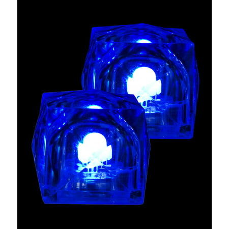 fun central ac964, 12ct blue led light up glow in the dark ice cubes, glow ice cubes, glowing ice cubes, flashing drink lights, plastic ice cubes, blinking lights, party bar supplies, drinkware and de