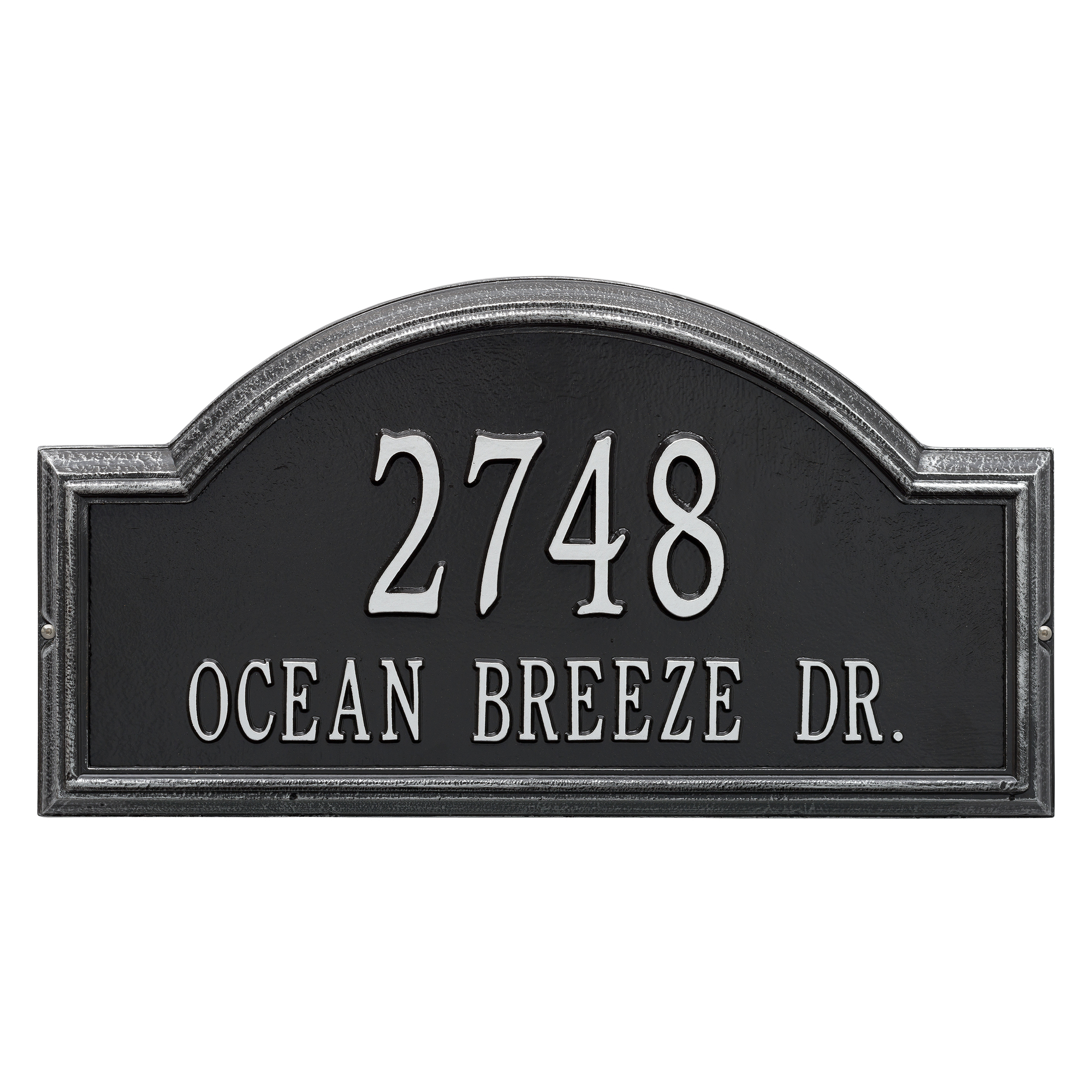 Personalized Whitehall Products Providence 2-Line Arch Address Plaque in Black Silver by Whitehall