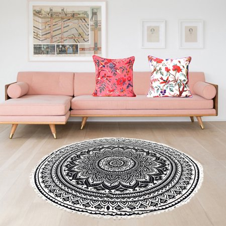 Black and White Round Tapestry Pompom Hippie Wall Hanging Mandala ...
