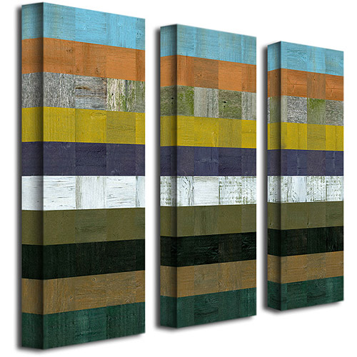 """Trademark Fine Art """"Wooden Abstract I"""" Three Canvas Wall Art by Michelle Calkins, 8x24"""