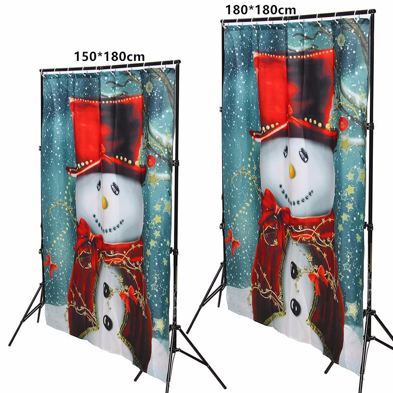 6ft*6ft Merry Christmas Winter Snowman Fabric Bathroom Shower Curtain  Waterproof