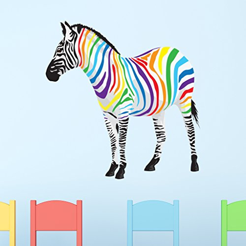 Rainbow Zebra Wall Decal   Wall Sticker, Vinyl Wall Art, Home Decor, Wall  Mural   SD3061   46x46