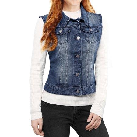 Women's Buttoned Washed Denim Vest Jacket w Chest Flap Pockets (Short Denim Jacket)