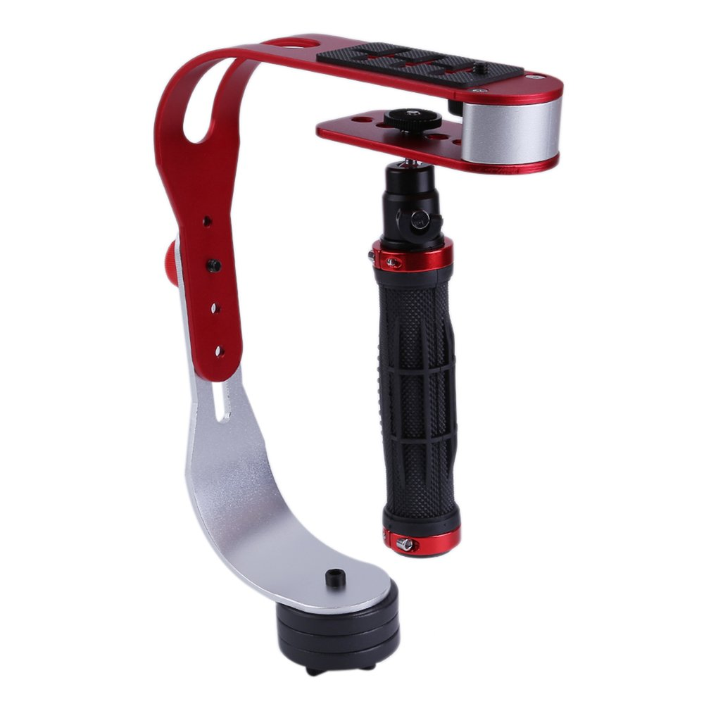 OUTAD Handheld Video Camera Stabilizer Steady Perfect For Gopro Smartphone Or DSLR DV SLR Digital Camera Blcak & Red Red