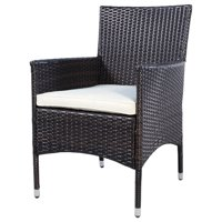 GHP Pack of 2 250Lbs Capacity Rattan Wicker Cushioned Outdoor Patio Dining Chairs