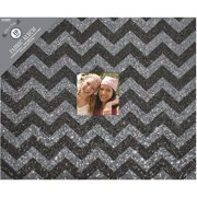 "Colorbok 12"" 3-Ring Glitter Album, Grey Chevron"