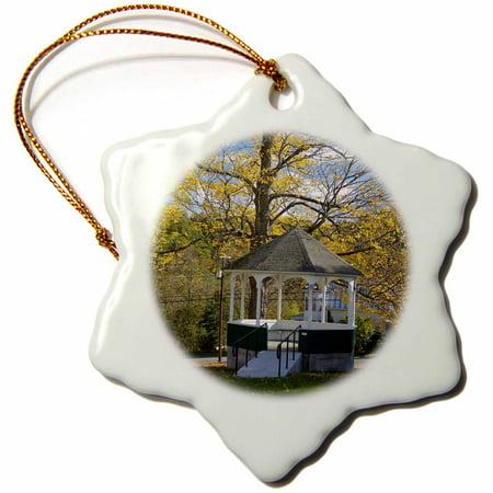 3dRose USA, Vermont, Sharon, Small town gazebo - US46 SPE0137 - Susan Pease - Snowflake Ornament,