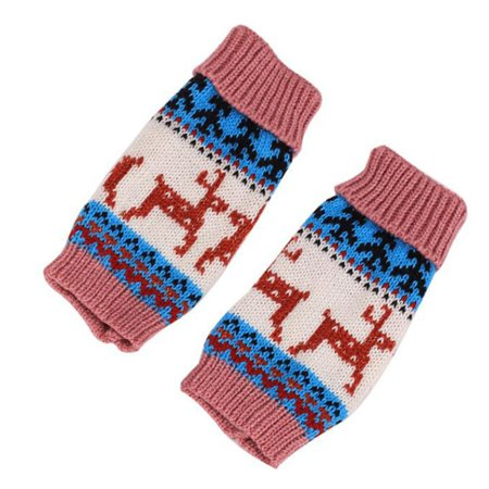 KABOER New Fashion Womenand#39;S Winter Warm Knitted Crochet Gloves Christmas Deer Pattern Long Fingerless Arm Warmers Gloves Mittens With Thumb Hole(Work Halffinger Gloves) ()
