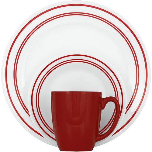 Corelle Livingware Classic Cafe Red 16-Piece Dinnerware Set
