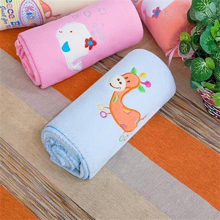 TB-BLK012-GIRAFFE-29.5by39.4 Orange Giraffe - Blue Embroidered Applique Coral Fleece Baby Throw Blanket