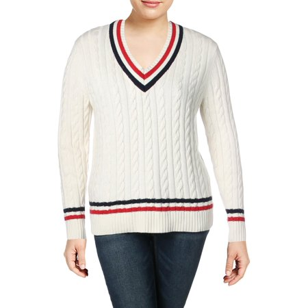 Lauren Ralph Lauren Womens Meren Striped Long Sleeves V-Neck -