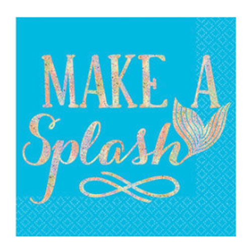 Mermaid 'Make a Splash' Iridescent Small Napkins (16ct)