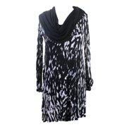 Kensie Black & White Long-Sleeve Cowl-Neck Printed Dress M