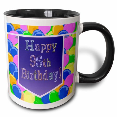 3dRose Balloons with Purple Banner Happy 95th Birthday, Two Tone Black Mug, 11oz