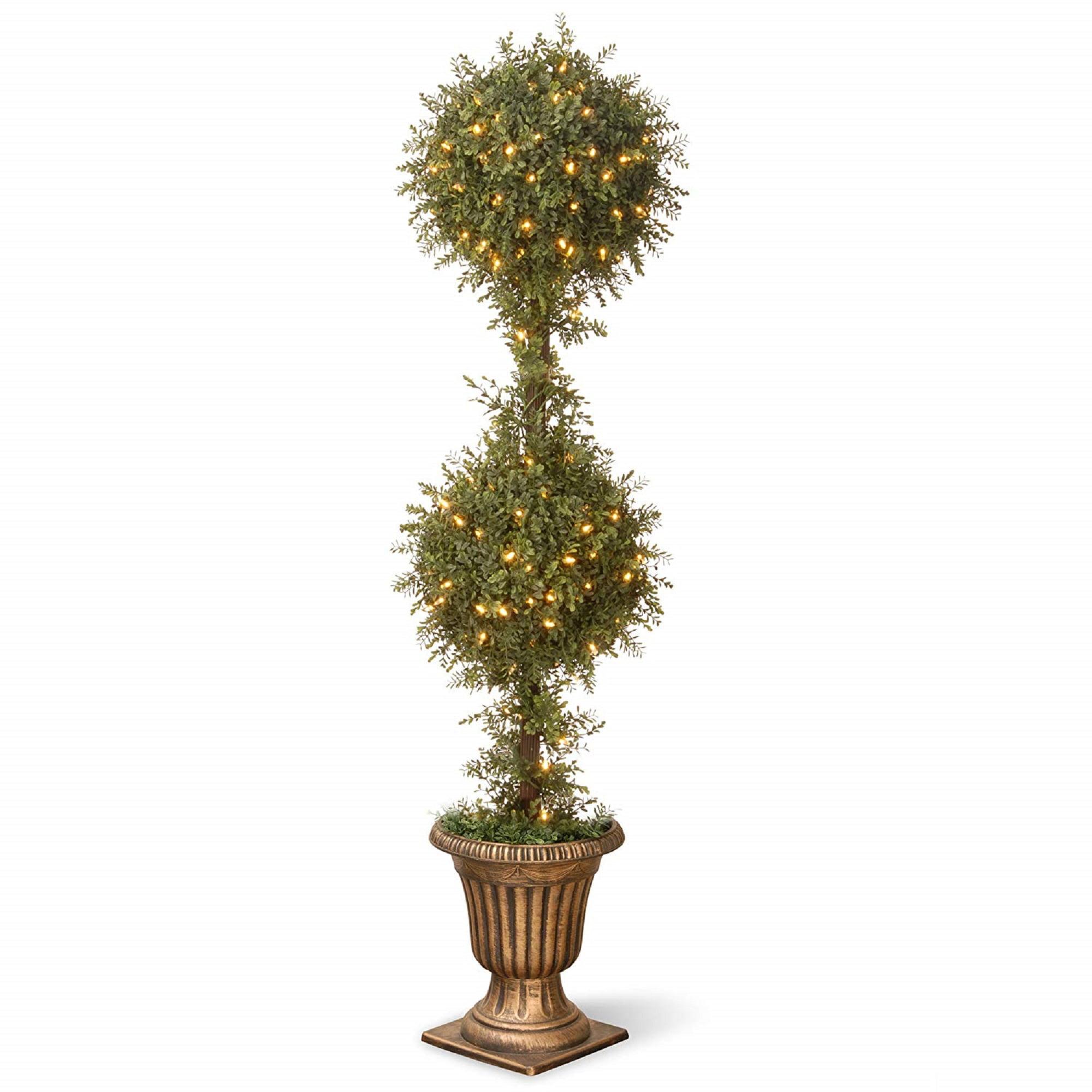 "38"" x 60"" Pre-lit Golden Mini Tea Leaf Ball Topiary Urn – Clear Lights"