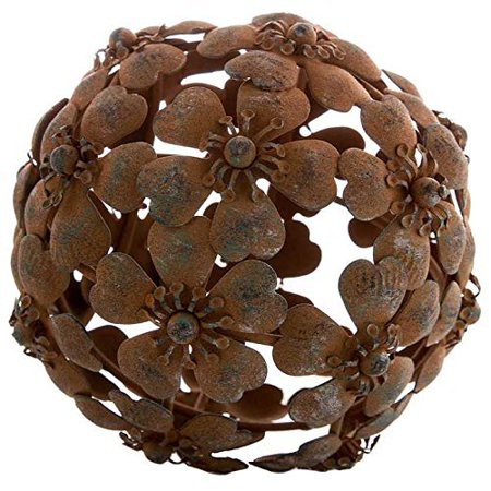 Antique Rusty Metal Flower Decorative Sphere, Featuring a rust finish on a unique flower design, metal sphere is perfect for filling large glass bowls, vases and.., By Everydecor ()